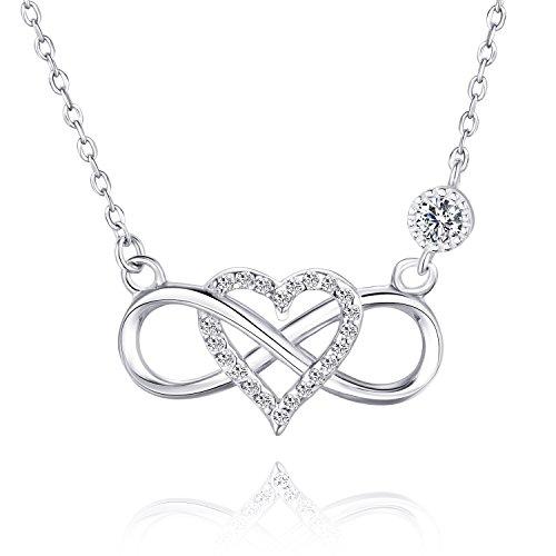 b408e0b43487 BlingGem Unendlichkeits Anhänger KettenFür immer zusammen 925 Sterling  Silber Weißes Gold überzogen Unendliches Herz Zirkonia Halskette Mode Damen  Schmuck