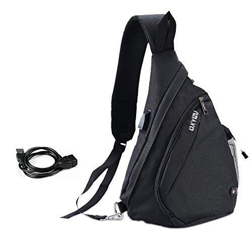 331a629fbf7d5 Vbiger Brusttasche Schultertasche Herren Sling Rucksack Outdoor Brusttasche  Sport Schultertasche mit USB Kabel und Ladeanschluss